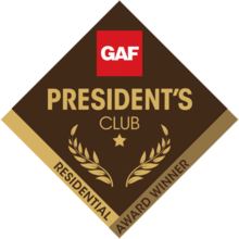 pro roofing and siding gaf presidents club award
