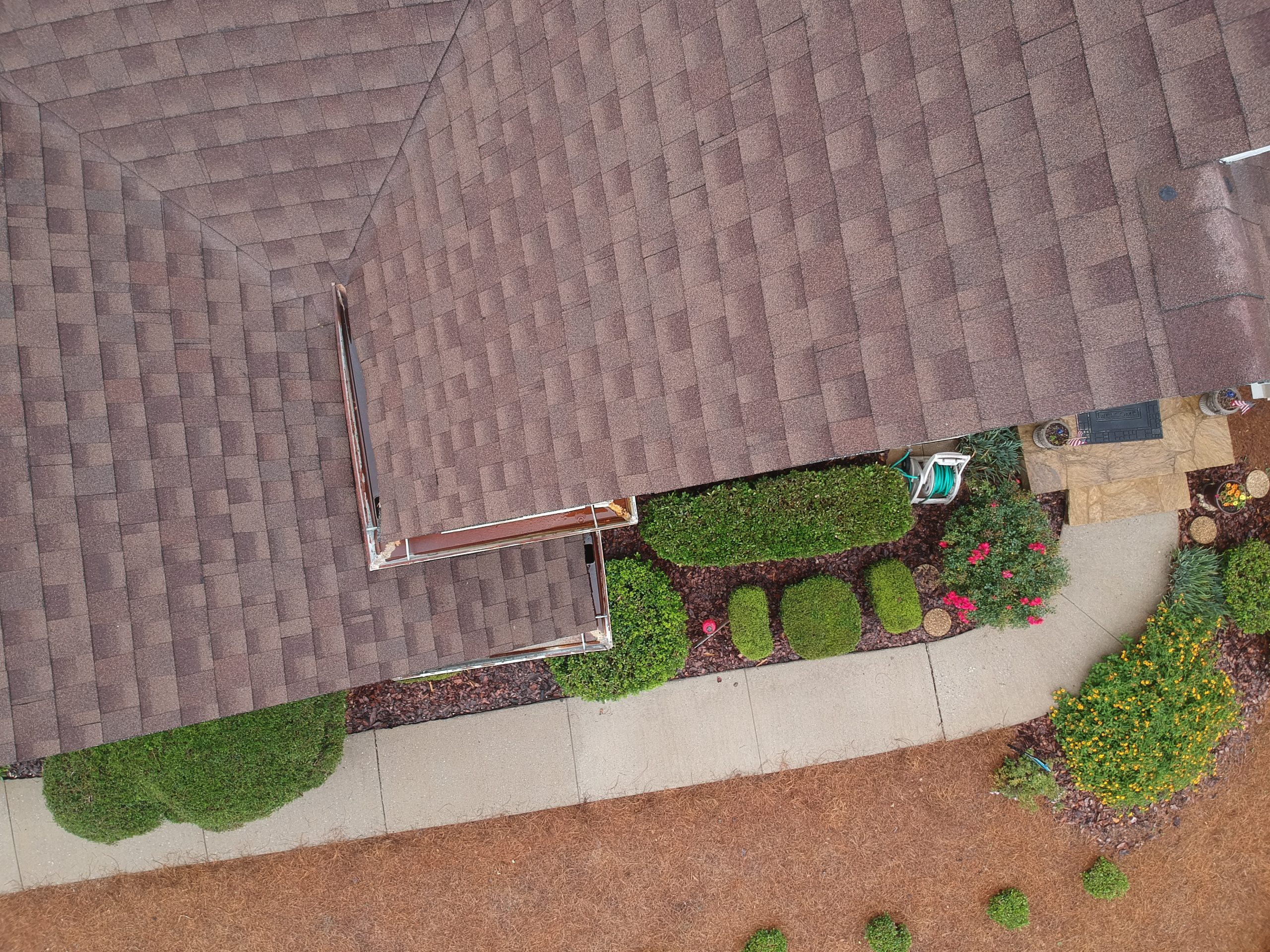 Aerial view of newly installed gutters in Marietta